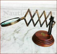VINTAGE FOLDABLE BRASS DESK TOP CHAINNER MAGNIFYING GLASS MAGNIFIER WOODEN BASE