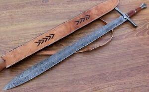 Sword Damascus Steel Sword Custom Handmade Viking Sword