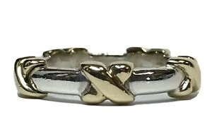 TIFFANY & CO STERLING SILVER 925 18K 750 GOLD X ETERNITY STACKABLE RING SIGNATUR