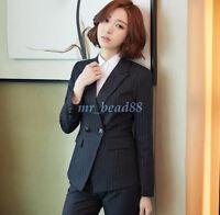 Women Business Formal Skirt Suit / Pants Suit Work Wear Striped Blazer Coat New