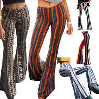 Women Wide Leg Flared Pants High Waist Striped Palazzo Slim Bell Bottom Trousers