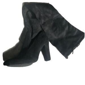 Black Faux Suede Over The Knee Heeled Boots. Size 5