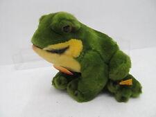 MES-41434Steiff Frosch Froggy H:ca.12,5cm mit Knopf,Schild und Fahne,