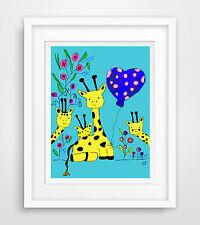 """""""giraffen"""" baby zimmer Druck Bild poster deko spruch wohnung  leben motivation"""