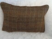 HARRIS TWEED CHECK FABRIC OBAN BROWN OBLONG CUSHION WITH FEATHER INNER