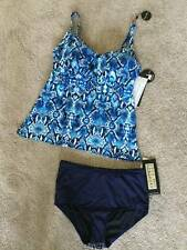 Coco Reef Blue Geometric Print 38D Top w/ Med Navy Tummy Toner Bottom