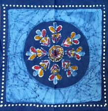 Handmade 100% Cotton Table Napkin Multi Batik Floral Design Blue 18x18 Inches