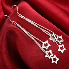 explode 925 Sterling Solid Silver Plated Taiji three empty stars earrings #121