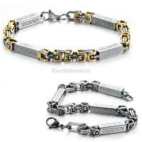 Stainless Steel Greek Key Symbol Byzantium Link Chain Men's Bracelet Bangle