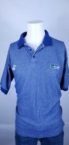 Vintage Pro Line Logo Athletic Seattle Seahawks Polo Blue SZ L