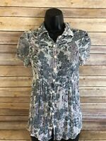 CABi Sheer Shirt Size Small Womens Floral Short Sleeve Button Front Top Blouse