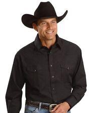 NWT Wrangler Western Long Sleeve Shirt Black (MEDIUM) Yokes Cowboy Snaps