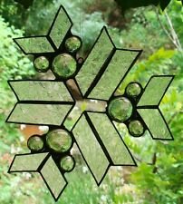 CRYSTAL SILVER SNOWFLAKE stained glass SUNCATCHER Leadlight gift READY TO HANG