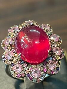 NATURAL RUBY CABUCHON 15X12 PIN  SAPPHIRE DIAMOND CUT STERLING SILVER 925 RING