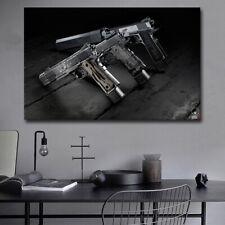 hunting air gun Canvas print oil painting wall art Snow Tiger Pistol Framed
