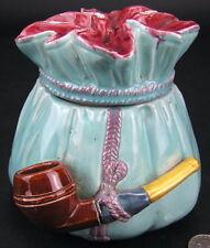 Antique Majolica Turquoise Blue Pipe Tobacco Jar WS&S Wilhelm Schiller & Sons