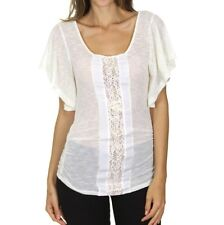 Woman's Small Crochet Top Lace Blouse Semi Sheer Ivory Boho Chic Made In USA