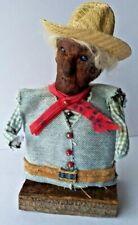 Vintage Folk Art Apple Head Denim Doll. Awesome Detail. Ooak Signed Arielle