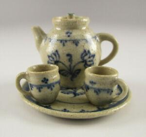 Miniature TEA SET FOR TWO Stoneware JANE GRABER Pottery IGMA Plate TEAPOT Cups