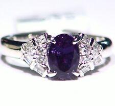 Vintage 1.80CT Platinum Natural Cut White Diamond Alexandrite Engagement Ring