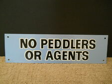 "Vintage No Peddlers Or Agents Thin Aluminum Metal Sign Blue Black White 4"" X 14"""
