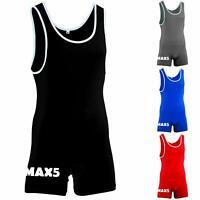 Max5 Men's Wrestling Singlet Body Wear Uniform Fight Gear Leg Grips Singlets