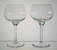 "UNKNOWN TWIST STEM by BELKRAFT Wine or Water Goblets 6 1/4"" PAIR"