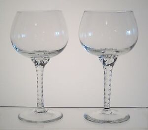 "GENTILLE BELKRAFT CRYSTAL Wine, Water Goblets 6 1/4"" SET/2, Twist Stem,Imperfect"