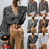 US Women Leopard Striped V Neck Long Sleeve Tops Casual T-Shirt Blouse Plus Size