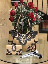 WESTERN MONTANA WEST COWGIRL TURQUOISE STUDDED CONCEALED CARRY HANDBAG + WALLET