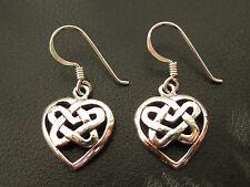 Herz Keltischer Knoten 925'er Silber Ohrringe Ohrhänger Paar      / OR 709