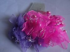 2 beautiful chiffon hair scrunchies with beads - purple & dark pink