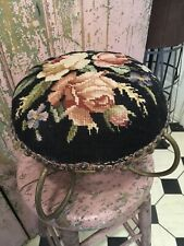 Beautiful Antique Victorian Needlepoint Stool Floral Roses 1880s-1900 #J