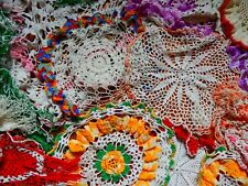20 Vintage Colorful Crocheted Doilies Lot Round Dresser scarfs