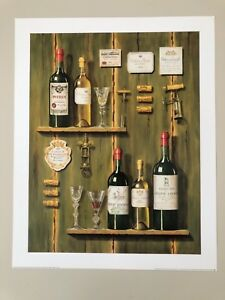 FABRICE DE VILLENEUVE, 'FRENCH WINES I ' RARE AUTHENTIC 1999 ART PRINT