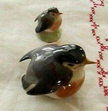 Lot of 2 Royal Copenhagen Bird Figurines: Denmark Robins Large 2266 & Small 2238