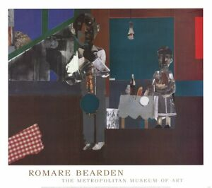ROMARE BEARDEN The Woodshed 30 x 34 Poster 1981 Multicolor, Brown, Red, Blue, Gr