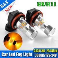 2pcs Bright 100W H11 3030 LED DRL Car Light Driving Fog Light Lamp Bulbs Amber