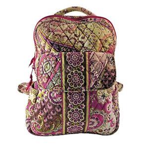 "Vera Bradley Very Berry Paisley Small Backpack Bag Plum & Pink Retired 12"" X 9"""