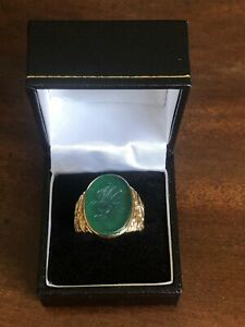 9ct Gold Intaglio Classical Bust Ring Engraved Size R 9.8g Emerald Glass Signet