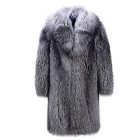Mens Outwear Parka Silver Fox fur Coat Winter Warm Long Jacket Trench Overcoat