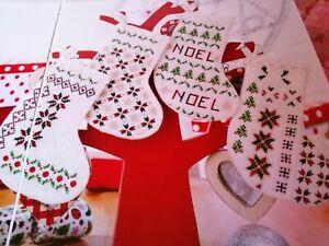 CROSS STITCH CHART 4 MINI MIXED STITCH CHRISTMAS STOCKING CHARTS ONLY