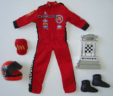 "KEN 12"" DOLL Clothes/Fashions RACE CAR SUIT Red W/ TROPHY & CAP NEW!"