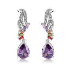 18 k gold plated Austrian crystal Amethyst Ruby Multcolor Diamonique CZ earrings
