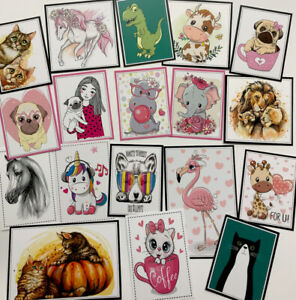 """*SALE* Clear Out Set AS PHOTO Mixed Printed Images/Toppers 2-4"""" (0037)"""
