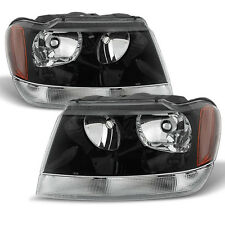 Black 99-04 Jeep Grand Cherokee Replacement Headlights Headlamps Pair Left+Right