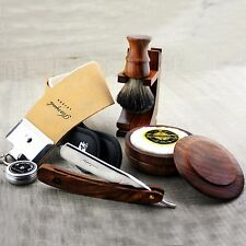 Barber Style Shaving Set Straight Razor / Cut Throat & Pure Black Badger Brush