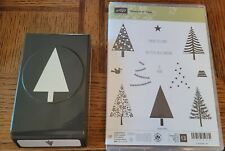 Stampin Up Bundle FESTIVAL OF TREES Stamp Set & TREE PUNCH lot.  Great condition
