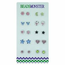 SILVER CRYSTAL MAGNETIC CLIP ON STUDS EARRINGS FOR DAUGHTER WOMENS GIRLS KIDS