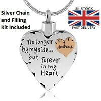 Husband Heart Cremation Urn Pendant Ashes Silver Necklace Funeral Memorial
